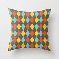 Grey Argyle Throw Pillow by Louise Machado