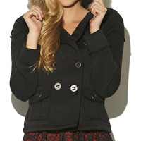 Double Breasted Fur Trim Jacket | Wet Seal