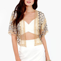 Chaise Lounge About Gold Sequin Kimono Top