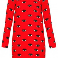 Boutique 1 - KENZO - Red Eye Print LS Dress | Boutique1.com