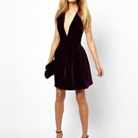 ASOS Structured Velvet Skater Dress