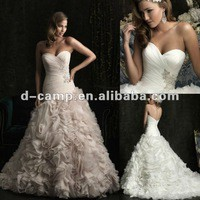 Source WD-588 Strapless ruched fitted bodice ball skirt ruffle dropped waist wedding gown 2013 on m.alibaba.com