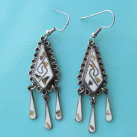 Alpaca Mexico drop earrings white enamel and abalone