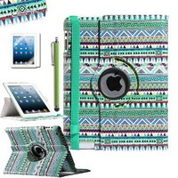 ULAK Aztec Tribal 360 Degree Rotating Pu Leather Case Cover Stand for Apple New iPad 2 3 4 W/Screem Protector/Touch Stylus(Green)