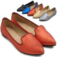 ollio Womens Ballet Comfort Loafers Shoes Glitter Multi Colored Flats