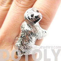 Large Sloth Animal Hug Wrap Ring in Shiny Silver - US Sizes 4 to 9