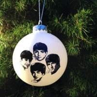 The Beatles – Hand Crafted Glass Christmas Ornament In White | Thirteen Vintage
