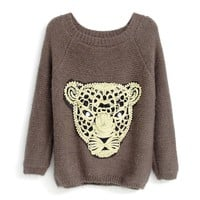 ZLYC Gold Leopard Face Womens Knit Sweater