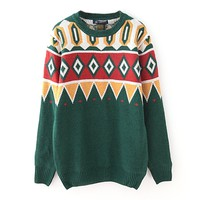 ZLYC Men's Vintage Style Pop Art Geometric Jacquard Jumper