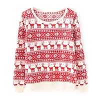 ZLYC Women's Holiday Snowflake and Deer Christmas Jumper