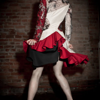 Couture White and Red Asymmetrical Lacy Ruffle Peace Silk Dress