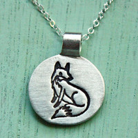 Fox Necklace by boygirlparty - Little Fox Jewelry Fox Charm, Silver Fox Pendant