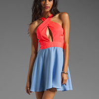 Naven 2 Tone Criss Cross Vixen Dress in Neon Salmon/Periwinkle