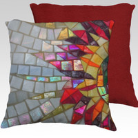 Starflower Pillow Cover, Velveteen, detail of shiny mosaic by JUSTART (18x18 pillow)