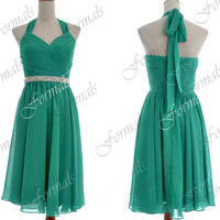 Halter with Crystal Sash Knee Length Short Chiffon Green Bridesmaid Dresses, Short Prom Dresses, Cocktail Dresses, Wedding Party Dresses