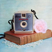 vintage camera and book, retro,photograph, pink, aqua, still life,wall art,shabby chic, girly