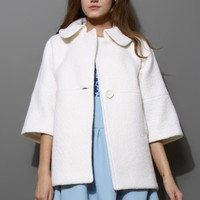 Cream Single Button Mid-Sleeve Wool Coat