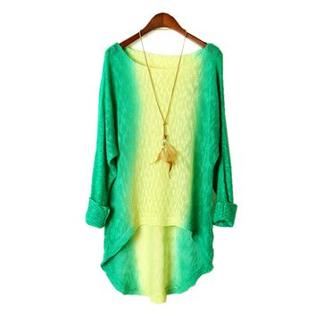 Vintage Ombre Tie Dye Long Knit Sweater Green&Yellow