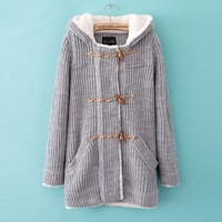 Big horn button hooded cardigan sweater JCGBE