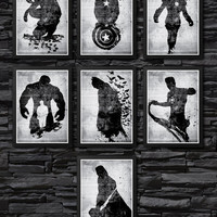 Marvel Character Poster Set / Spiderman, Batman, Thor, G. Lantern, Captain America, Hulk, IronMan / Print High Quality 225gr Coated Paper