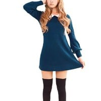 Allegra K Women's Peter Pan Collar Bracelet Sleeve Pullover Knitting Mini Dress