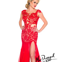 (PRE-ORDER) Mac Duggal 2014 Prom Dresses - Red Chiffon & Lace Form-Fitting Bodice Prom Gown