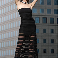 Alexis EXCLUSIVE Strapless Mesh Maxi Dress: Black-Dresses-Clothing-Categories- IntermixOnline.com