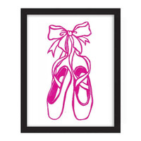 POSTER - 11x14 - Ballet Slippers - Pointe Shoes Ballet Dance Lover - Hot Pink Color - Dance Decor