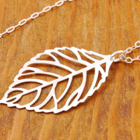 Silver Leaf Necklace - leaf pendant, filigree leaf, tree necklace, nature jewelry, holiday sale