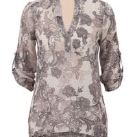 high-low lace print chiffon top
