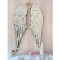 Lovely Pair of Distressed Wood Angel Wings in Warm Cream