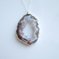 Geode Necklace in Silver - Druzy Jewelry - BEST SELLER