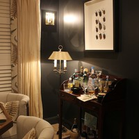 Black Crown Molding - Eclectic - media room - Benjamin Moore Panther black - Material Girls