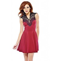 AX Paris Women's Crochet Neck Skater Burgundy Dress