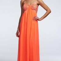 Strapless Chiffon Prom Dress with Embellished Bust - David's Bridal - mobile