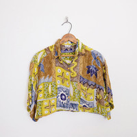 90s crop top, crop shirt, batik shirt, ethnic shirt, abstract shirt gauze shirt brown yellow oversize shirt festival top festival shirt s m