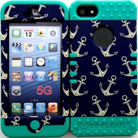 Hybrid Cover Case for Iphone 5 Anchor Pattern on Teal Silicone Skin Gel