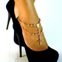 14K GOLD PINK ROSARY ANKLET (SINGLE)