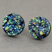 Fake Plugs, Druzy Stone Stud Earrings : Green, Purple, Navy Blue, Crackle, Artisan Tree, 12mm, Sparkle, Glitter