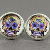 Sugar Skull Earrings : Skeleton, Candy Skull Stud Earrings, Fake Plugs, Cabochon, Glass, ArtisanTree, Summer, Fun, Day of the Dead, Mexico