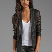 Dolce Vita Tacey Laser Cut Faux Leather Blazer in Black