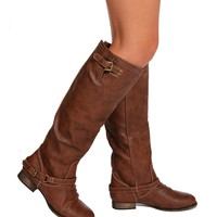 Tan Double Buckle Zipper Boots