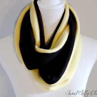 Hufflepuff Inspired Fleece Infinity Scarf, Harry Potter Hogwarts House Scarf, Yellow Black Fleece Scarf