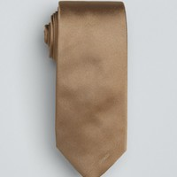 Prada mocha solid logo silk tie | BLUEFLY up to 70 off designer brands