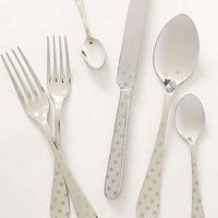 Polka Dotted Flatware by Anthropologie Grey One Size Flatware