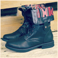 Arrow Lake Black Tribal Fold Over Combat Boots