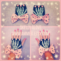 Halloween SKELLY GLOVE cut off skeleton bone glove mitten with baby pink pastel pyramid studs and pink bne print bows