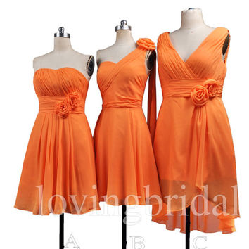 2014 burnt orange mint coral bridesmaid from lovingbridal for Pink and orange wedding dresses