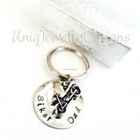 Personalized Biker Dad Keychain - UniqJewelryDesigns