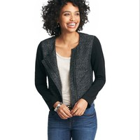 Ponte Sleeve Textured Moto Jacket
